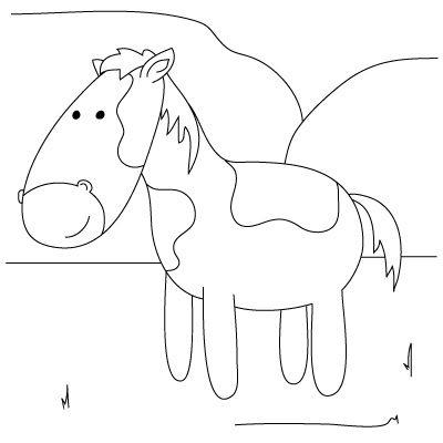 Simple Horse Drawing Kids