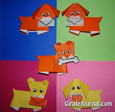 Оригами симпатичные щенки: видео инструкция