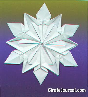 Оригами снежинка: видео инструкция