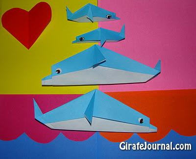 Симпатичные оригами дельфины: