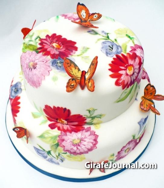 Торт для девочки цветочная поляна с